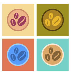 Assembly flat icons beans coffee logo vector