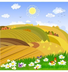 autumn rural landscape vector image