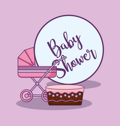Baby shower card with cake and cart vector