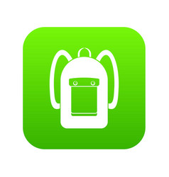 Backpack icon digital green vector