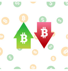 bitcoin digital currency symbol with arrows up and vector image