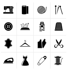 Black sewing equipment and objects icons vector
