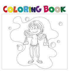 Boy in bathroom coloring book vector