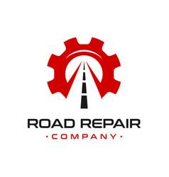 Broken road repair logo design vector