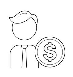 businessman and circle coin line icon vector image