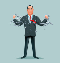 Businessman release breaking chains liberation vector