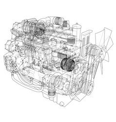 Car engine rendering of 3d vector