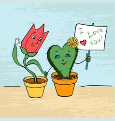 card lovers tulip and cactus hold hands vector image