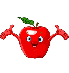 cartoon apple character vector image vector image