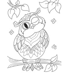 Cartoon coloring book funny owl on the tree vector