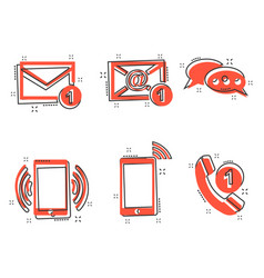 cartoon contact buttons icon in comic style email vector image