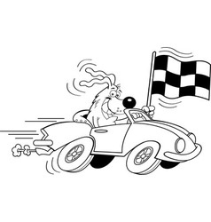 Cartoon dog in a car waving a check vector