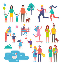 Children and family set icons vector