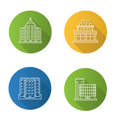 city buildings flat linear long shadow icons set vector image