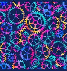 colored gear seamless pattern vector image