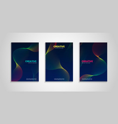 colorful cover collection with wavy lines vector image