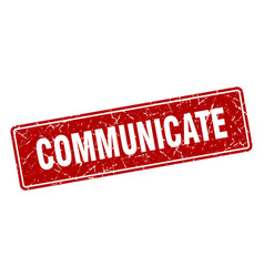 Communicate stamp communicate vintage red label vector