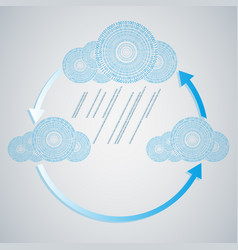 computer blue cloud with rain from numbers vector image
