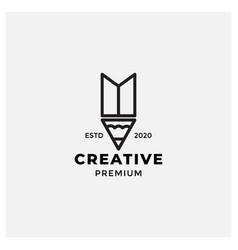 Creative pencil or ballpoint modern line logo vector