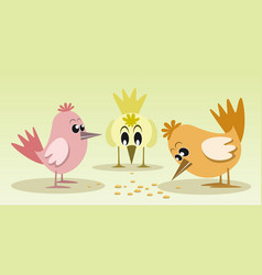 cute and colorful little birds vector image