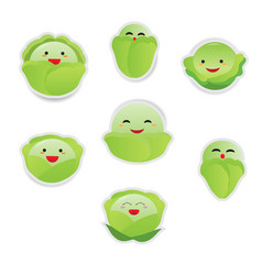 cute cartoon vegetable set isolated on white vector image