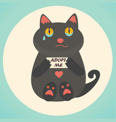 Cute cat adopt me text homeless animals concept vector