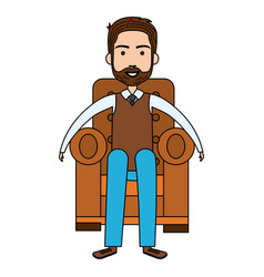 Cute grandfather sitting on the couch avatar vector
