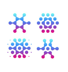 digital snowflakes icons molecular science logo vector image