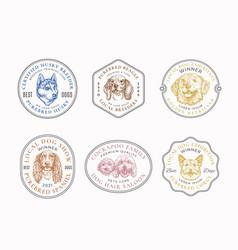 Dog breeds frame badges or logo templates vector