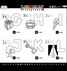 Educational cartoon alphabet color book vector
