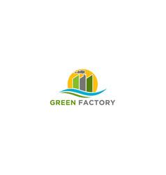 Factory logo - eco friendly nature vector