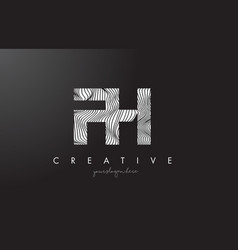 fh f h letter logo with zebra lines texture vector image