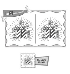 find 9 differences game whale gifts vector image