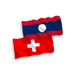 Flags laos and switzerland on a white vector