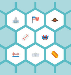 Flat icons bridge white house sausage and other vector