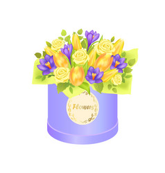 flower bouquet composed by gentle spring flowers vector image