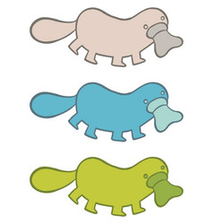 Funny cartoon platypus in different colors vector