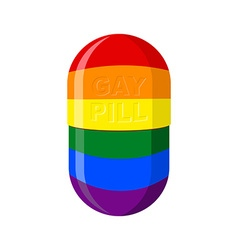 Gay pill Pharmaceutical Capsule with LGBT flag vector