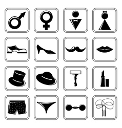 Gender icons set black vector image