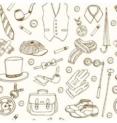 Gentlemans vintage accessories doodle seamless vector