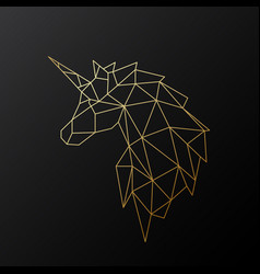 Golden polygonal unicorn isolated vector