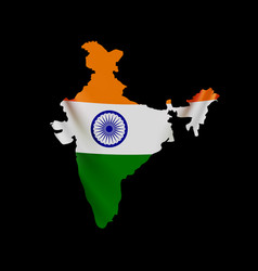 hanging india flag in form map republic vector image