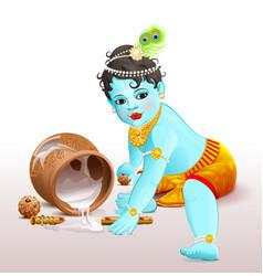 Happy krishna janmashtami blue boy god broke pot vector