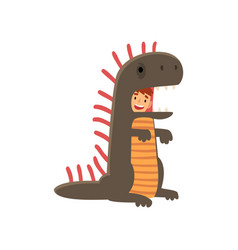 Happy smiling boy in dinosaur costume kid dressed vector
