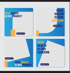 Healthcare post social media template easy use vector