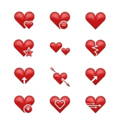 Heart love emoji emoticons set vector image