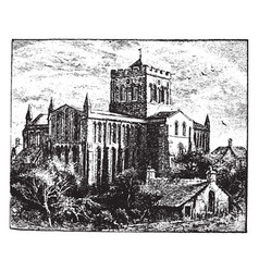 Hexham abbey vintage vector