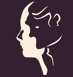 human heads silhouette vector image