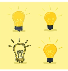 Idea Lamp Yellow Background vector image