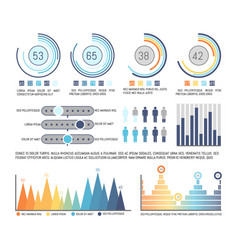 infographics and pie diagram with figures data vector image